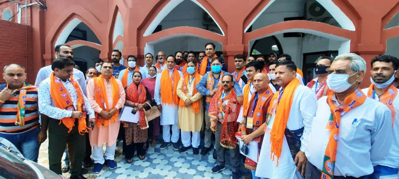 Former Minister, Sat Sharma during BJP SC Morcha meeting at Jammu on Sunday.