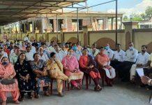 BJP leader, Ch. Vikram Randhawa addressing a gathering at Akhnoor on Sunday.