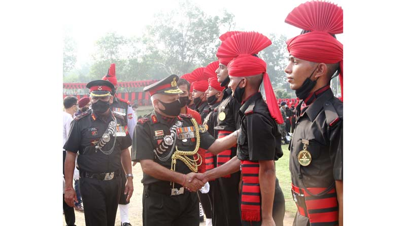 Lieutenant General MK Das during attestation parade of Army recruits in Jammu on Saturday.