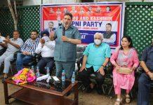 Apni Party president Altaf Bukhari addressing workers meeting in Jammu. —Excelsior/Rakesh