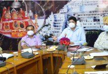 Div Com Jammu Dr Raghav langar reviewing arrangements for Navratra festival at Katra.