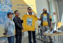 Dignitaries during flagging off motorcycle rally-cum-cleaning drive at Leh. -Excelsior/Morup Stanzin