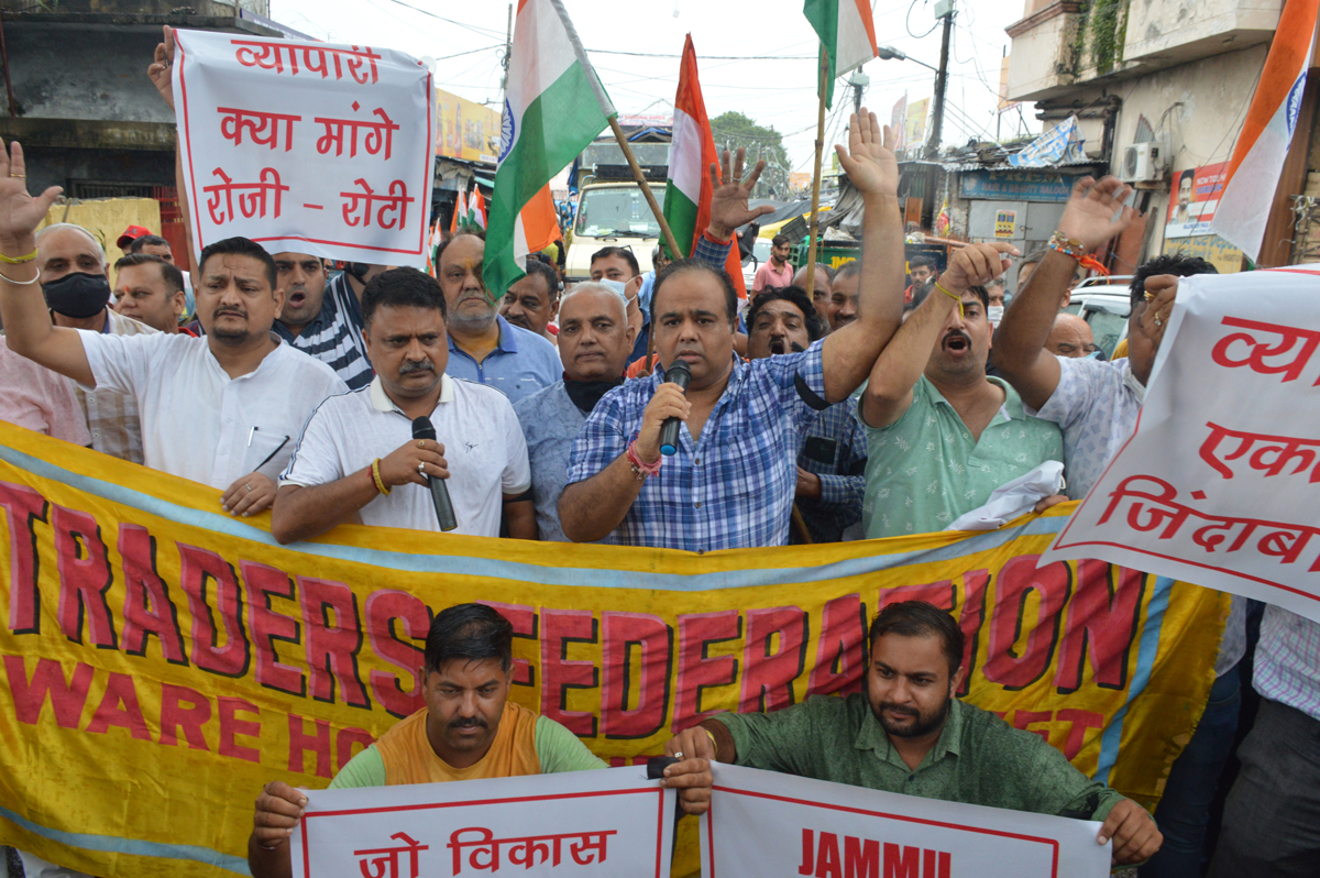 Traders raising slogans during protest in Jammu.