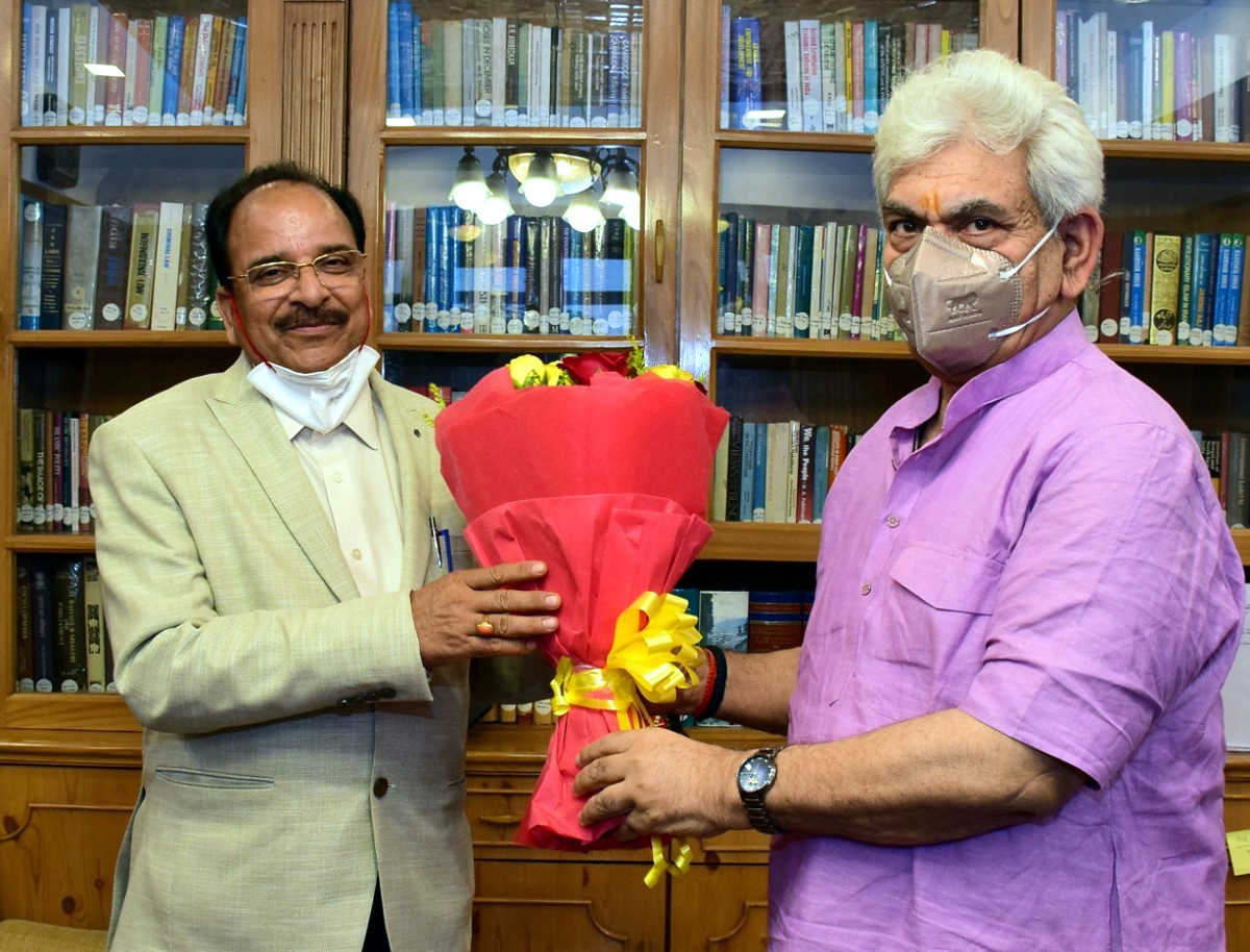 Union Minister of State for Defence and Tourism Ajay Bhatt in a meeting with Lieutenant Governor Manoj Sinha in Srinagar on Friday.