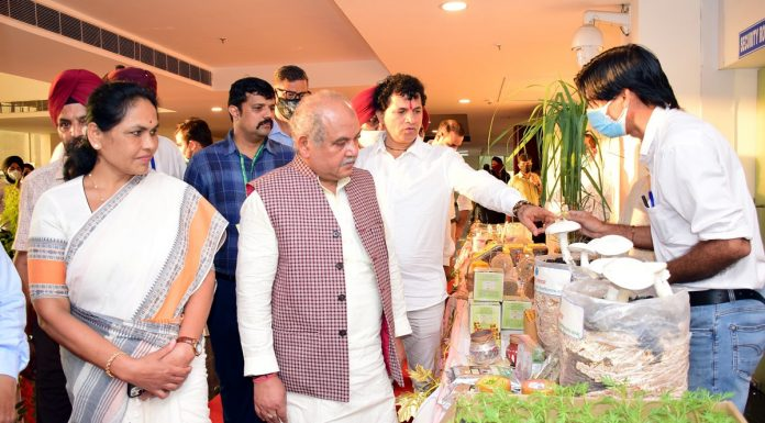 Union Minister for Agriculture Narendra Singh Tomar during his visit to SKUAST Jammu on Friday.