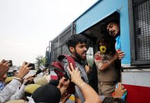 Protesting NSUI activists being whisked away by Police at Jammu on Tuesday. -Excelsior/Rakesh