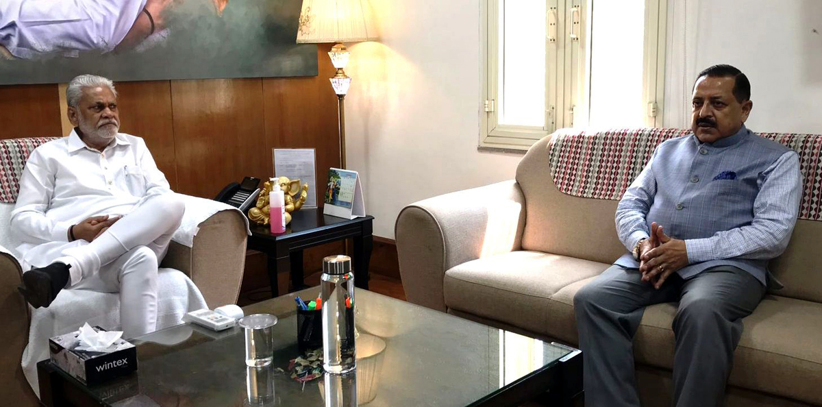 Union Minister Dr Jitendra Singh in a meeting with Union Minister of Fisheries, Animal Husbandry and Dairying, Parshottam Rupala, at New Delhi on Tuesday.