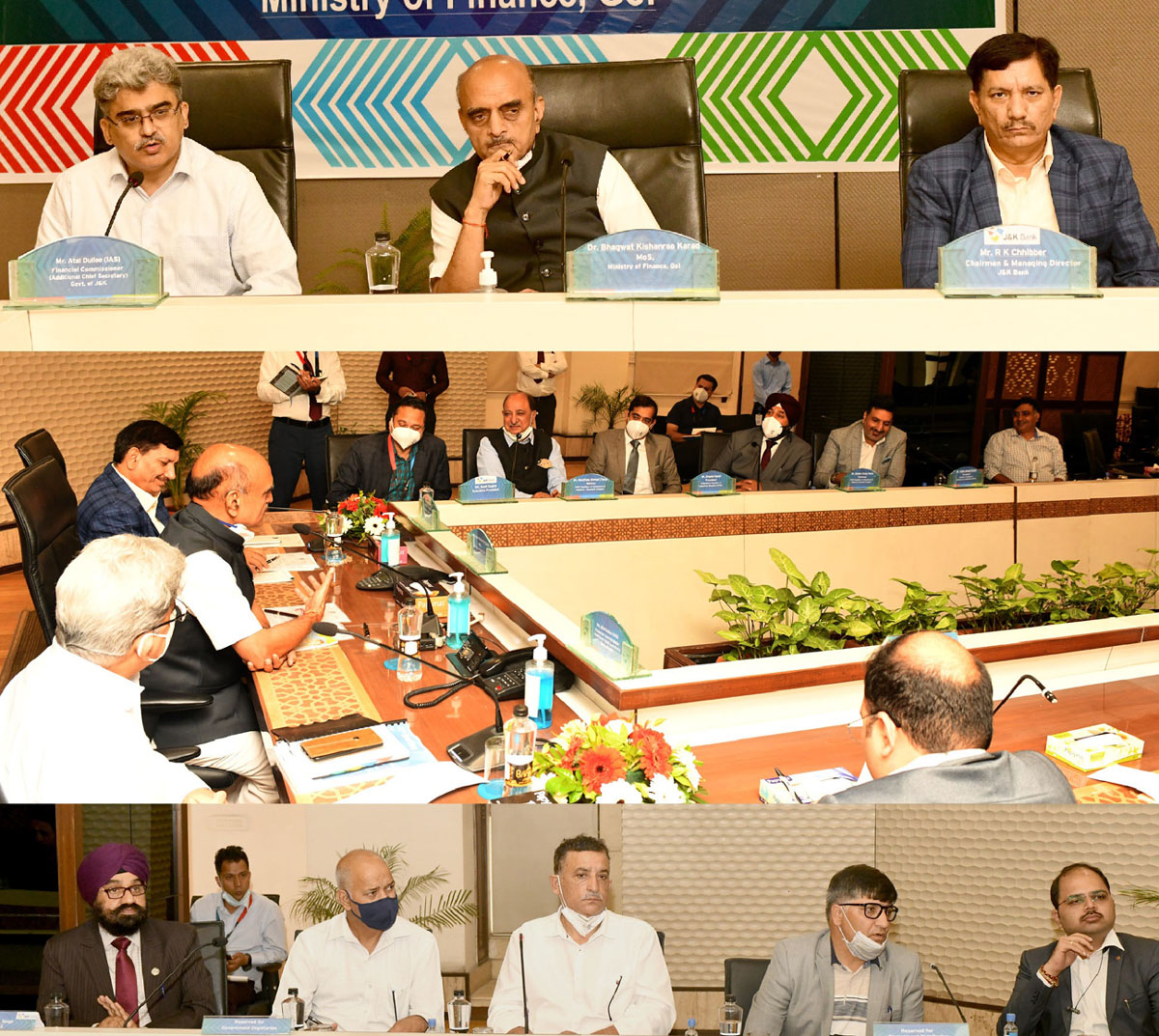 Union MoS Finance Dr Bhagwat Kishanrao Karad Interacting with industry representatives in Srinagar on Tuesday.