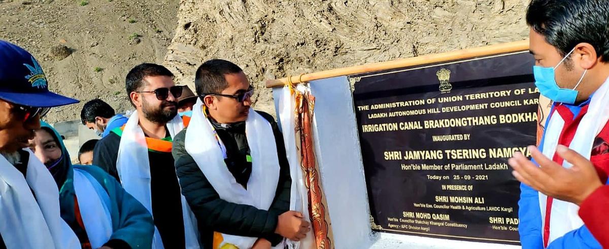 MP Ladakh Jamyang Tsering Namgyal inaugurating irrigational canal project at Brakdongthang Bodh Kharbu in Kargil.