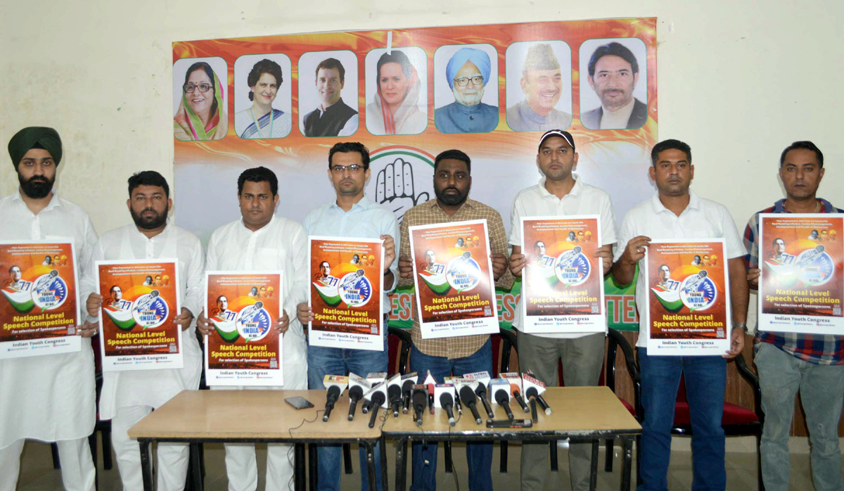 Youth Cong launching 'Young India Ke Bol' campaign in Jammu on Sunday.