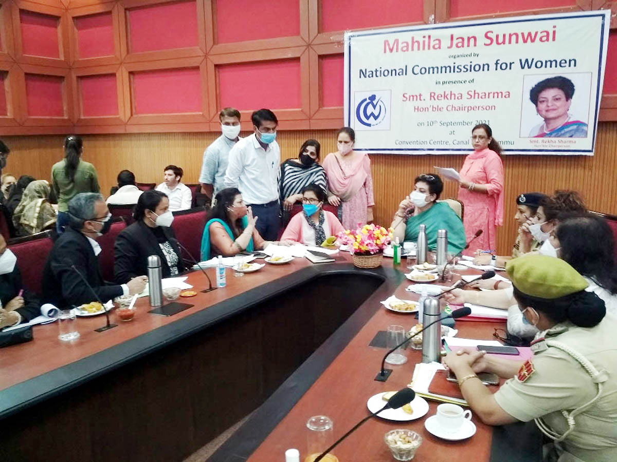 Chairperson NCW listening complaints during a meeting in Jammu.