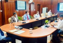 Union Minister Dr Jitendra Singh convening a meeting with senior officers of National Surveying and Mapping Agency (NMA) at Dehradun on Friday.