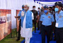 Lieutenant Governor Manoj Sinha during IAF show in Srinagar on Sunday.