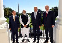 Prime Minister Narendra Modi, US President Joe Biden, Australian PM Scott Morrison and Japanese PM Yoshihide Suga before the QUAD Summit, in Washington DC on Friday. (UNI)