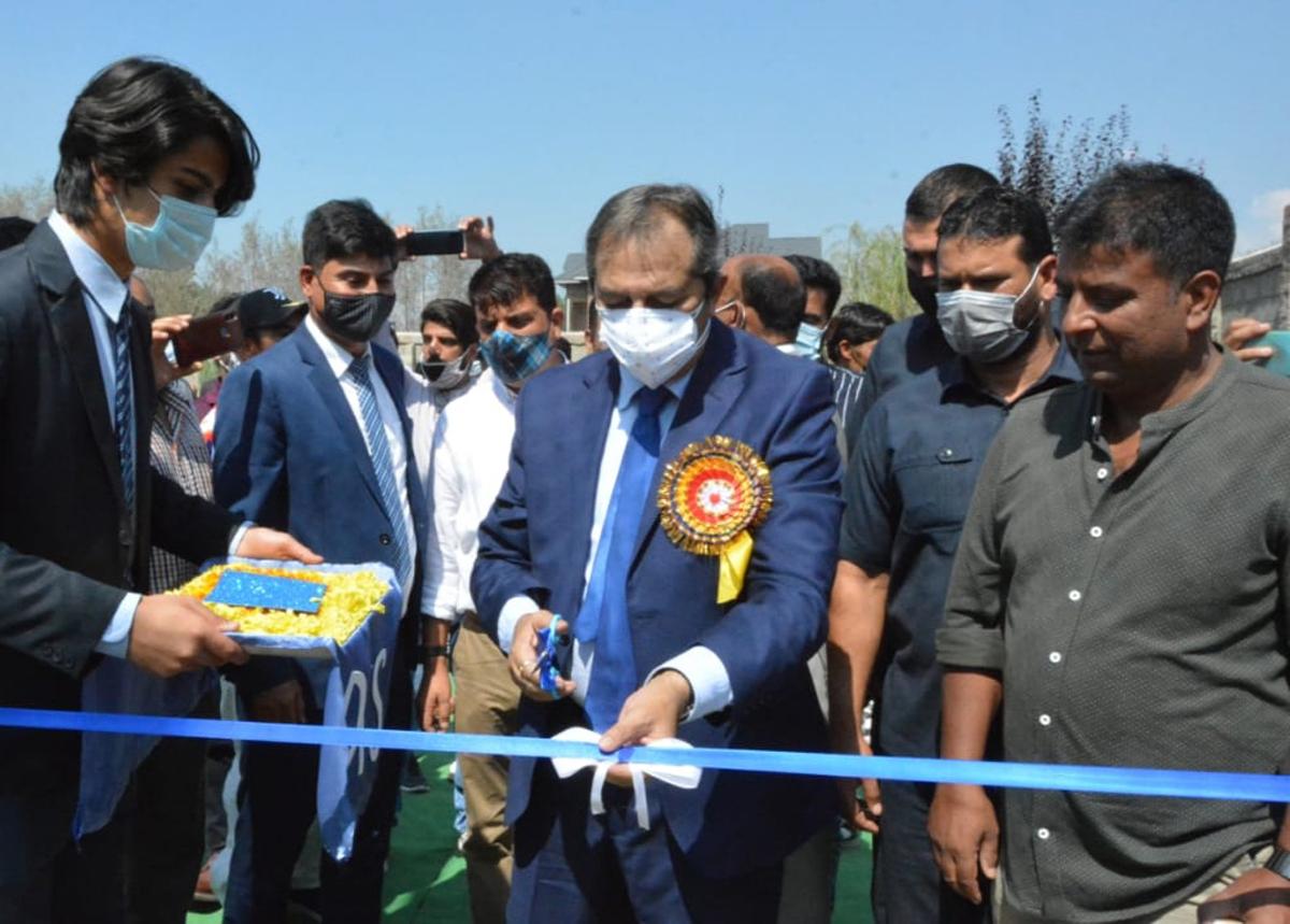 Advisor Baseer Khan inaugurating MS Dhoni Academy at Srinagar on Saturday.