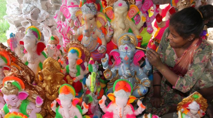 A worker gives final touch to the idols of Lord Ganesh ahead of Ganesh Chaturthi in Jammu. — Excelsior/Rakesh