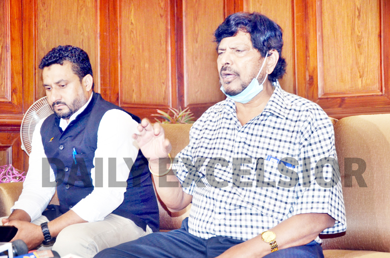 Union Minister Ramdas Athawale addressing a press conference in Jammu on Monday. -Excelsior/Rakesh