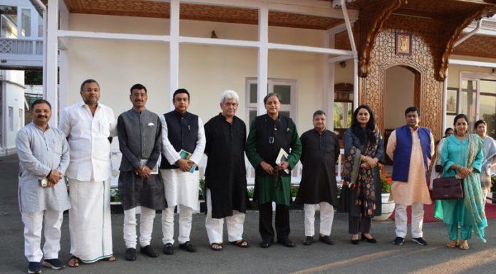 Lieutenant Governor Manoj Sinha with members of Parliamentary Panel on IT in Srinagar on Saturday.