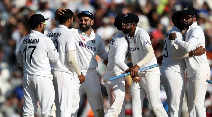 Indian players celebrate victory over England on Monday.
