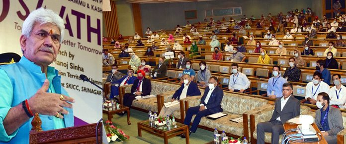 Lieutenant Governor Manoj Sinha addressing a programme on Self Help Groups for women in Srinagar on Wednesday.