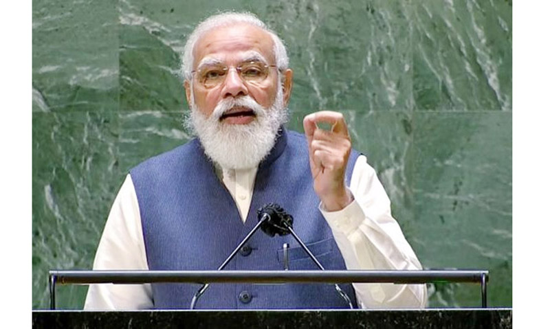 Prime Minister Narendra Modi addresses the 76th Session of the UN General Assembly in New York City on Saturday.