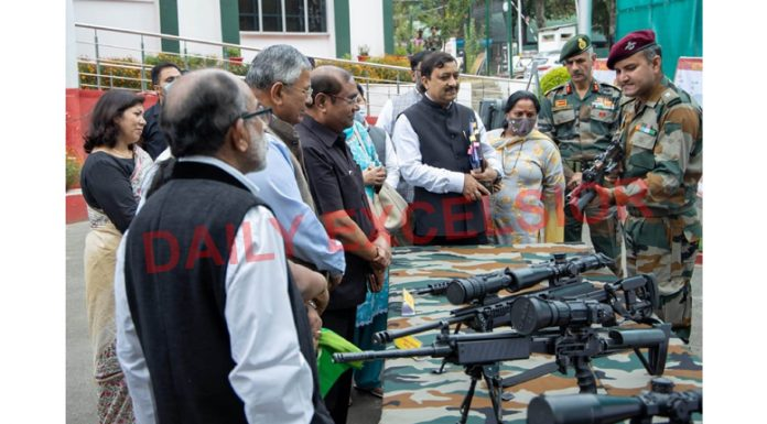 Parliamentary Committee on External Affairs members led by its Chairman PP Chaudhary inspecting sophisticated weapons during their visit to Chinar Corps in Srinagar on Wednesday.
