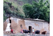 Villagers carry out daily routine work outside their 'Kucha' house on the outskirts of Jammu. -Excelsior/Rakesh