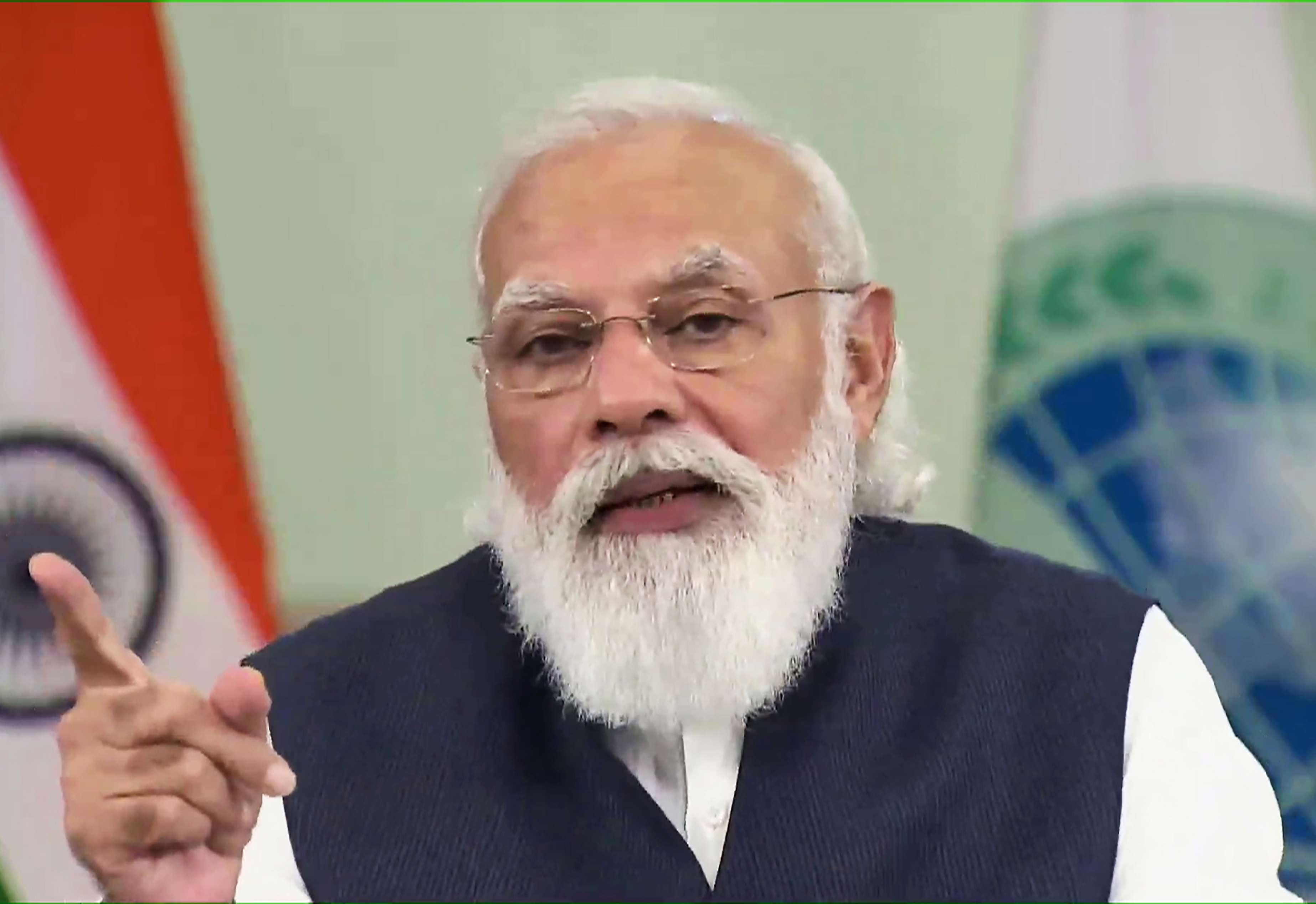 Prime Minister Narendra Modi addressing the plenary session of the 21st meeting of SCO council of Head of States through video conferencing in New Delhi on Friday. (UNI)