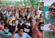 PDP president Mehbooba Mufti addressing party workers rally in Jammu on Sunday. —Excelsior/Rakesh