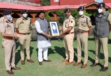Union MoS Home Ajay Mishra being received by DGP Dilbag Singh in Srinagar on Thursday.