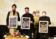 Union Minister Anurag Thakur and LG Ladakh R K Mathur at the launch of 1st Himalayan film festival in Leh on Friday. -Excelsior/Morup Stanzin