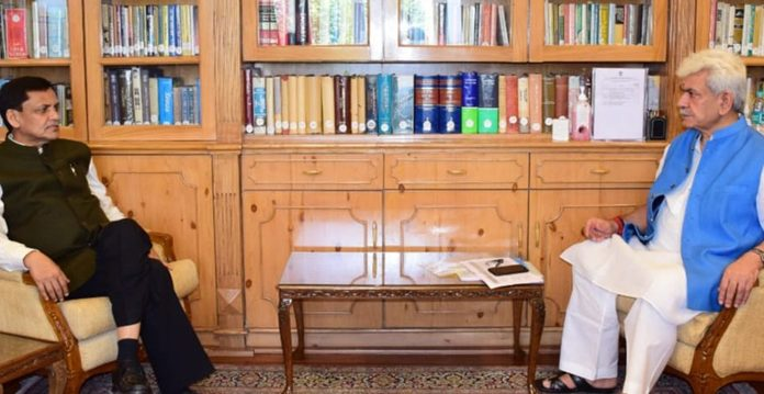 Union Minister of State for Home Nityanand Rai in a meeting with Lieutenant Governor Manoj Sinha in Srinagar on Wednesday.
