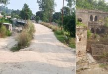 Bridge in bad shape connected with dilapidated road leading towards Purmandal shrine (left) and ancient inns turned ruins (right).
