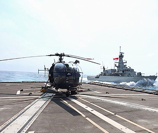 Indian and Indonesian Navies participating in 3rd edition of bilateral Naval exercise 'Samudra Shakti' in Jakarta on Thursday. (UNI)