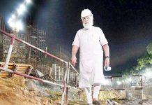Prime Minister Narendra Modi inspecting construction site of new Parliament building in New Delhi. (UNI)