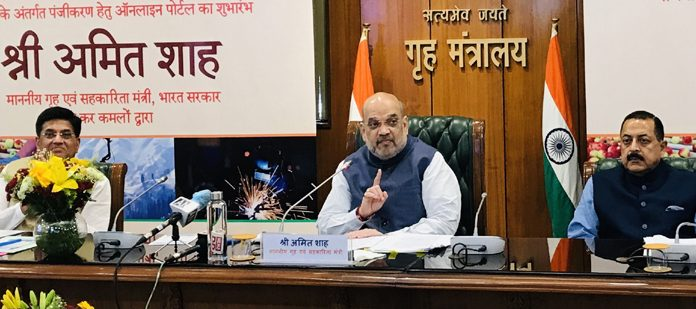 Home Minister Amit Shah speaking after launching Online portal of new Central Scheme for J&K Industrial Development at MHA headquarters, North Block, New Delhi on Tuesday. Also seen are Union Ministers Piyush Goyal and Dr Jitendra Singh.
