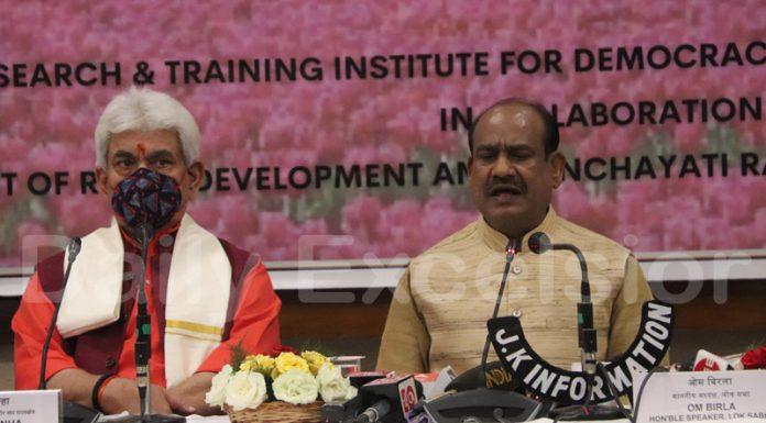 Lok Sabha Speaker Om Birla and Lieutenant Governor Manoj Sinha addressing media during Parliamentary Outreach Programme in Srinagar on Tuesday. —Excelsior/Shakeel