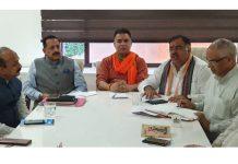 BJP leaders during Core Group meeting in Jammu on Saturday