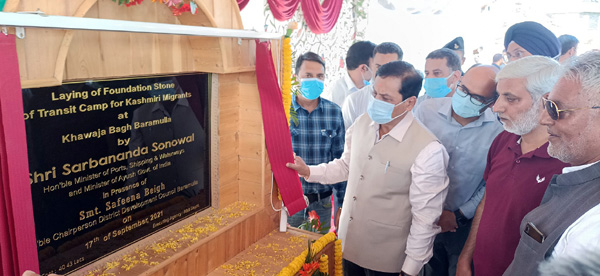 Union Minister for AYUSH Sarbananda Sonowal laying foundation stone of a project in Baramulla on Friday.