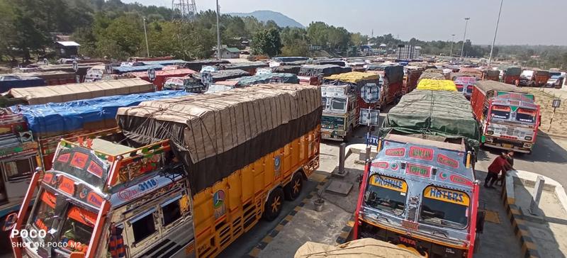 Trucks stranded at Toll Plaza Qazigund. —Excelsior/Sajad Dar
