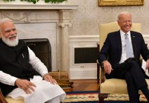 Prime Minister Narendra Modi during a meeting with US President Joe Biden in Washington on Friday.