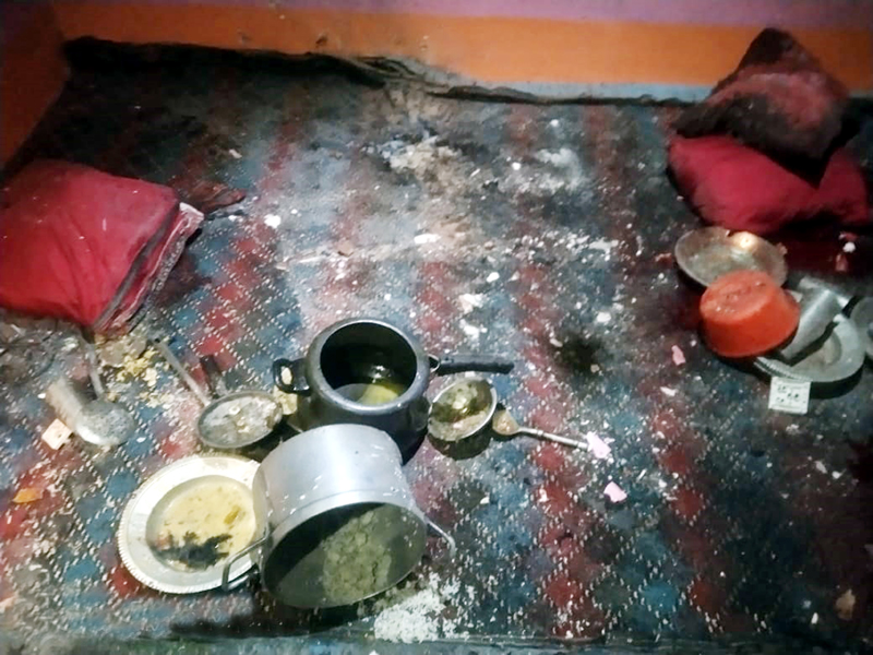 A view of damage caused due to blast in a house at Tarapora in Handwara area on Friday night.