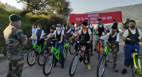 Participants of cycling expedition at Mendhar on Wednesday.