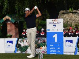 Jyoti Randhawa tees off during Golf tournament J&K Open at Royal Springs Golf Course Srinagar. -Excelsior/Shakeel