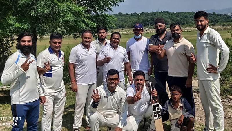 Winners displaying victory signs after the match at Nagrota.