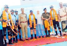 Cyclists being welcomed by the officials of the CRPF at Jalandhar on Sunday.