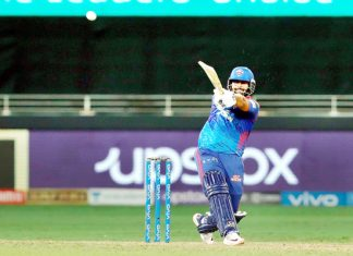Rishabh Pant playing a shot against SRH during IPL match at Dubai on Wednesday.
