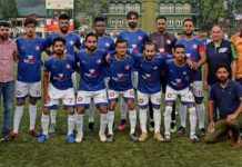 Team and management of Hydriya Sports FC posing for a group photograph at Srinagar.