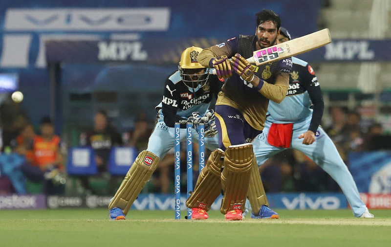Venkatesh Iyer playing a shot during an IPL match against RCB on Monday.