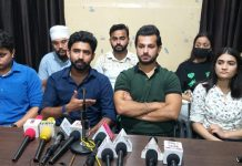 Roll Ball players addressing press conference at Jammu on Tuesday.